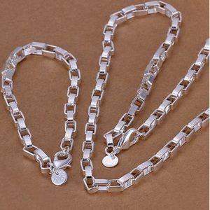 NEW 925 Stamped Silver  Necklace bracelet set
